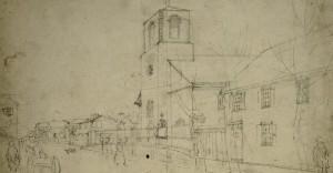 A drawing of a church in Charleston, South Carolina, circa 1812 John Rubens Smith / Library of Congress