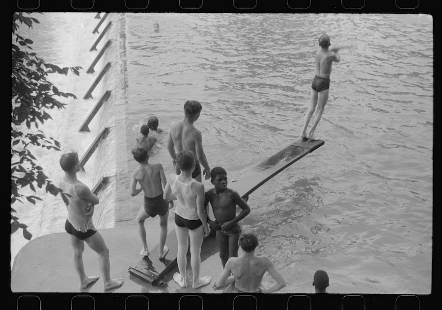 Swimming at a pool created by a Civilian Conservation Corps dam project, Huntingdon, Pa., 1941