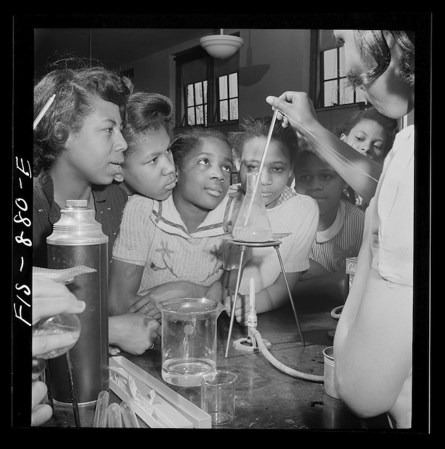 Washington, D.C., March 1942, science class in a black high school