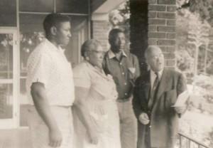 Wallace Ingram (from left) stands with Rosa Lee Ingram, Samuel Ingram and Clayton R. Yates following the Ingrams' release from prison.
