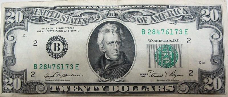 Old 20 Dollar Bill 1993