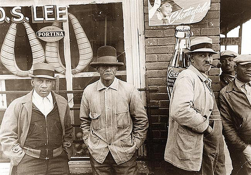 Group of African American Men In Front of General Store, 1939